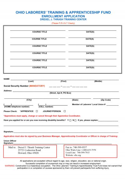 Class-Enrollment-Application-Form